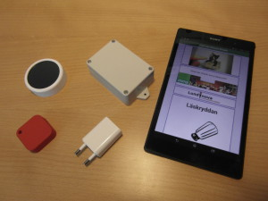 Beacons and tablet running Beacon Reader